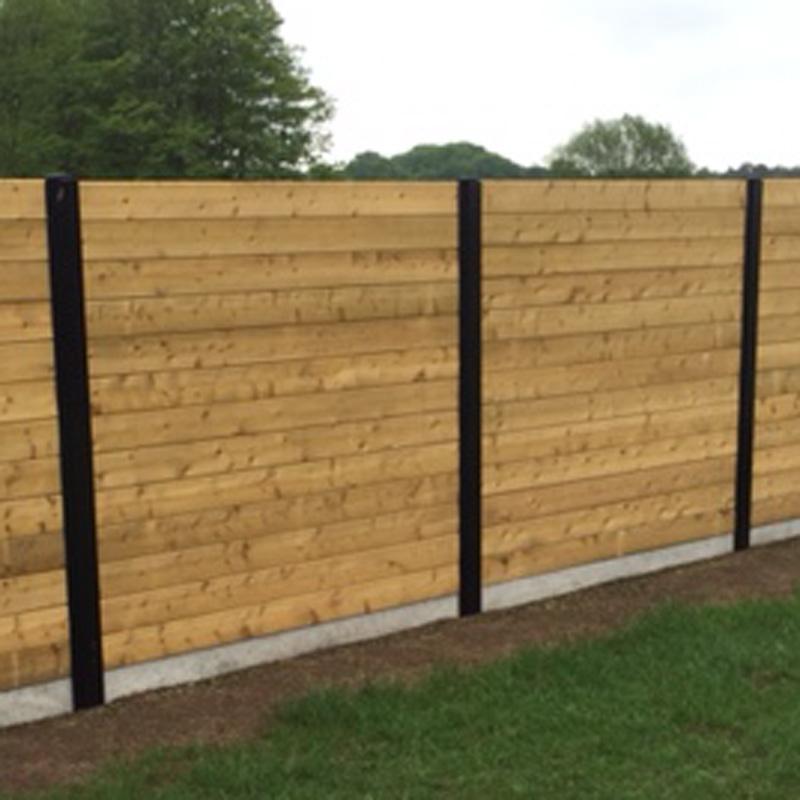 Zwarte metalen gleufpaal 2400mm voor houten planken - Planken zwarte ...