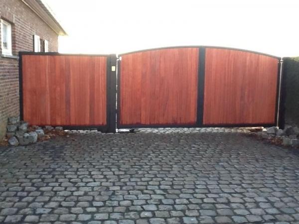 poort cortenstaal hout
